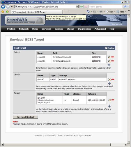 FreeNAS, iSCSI Target Creation