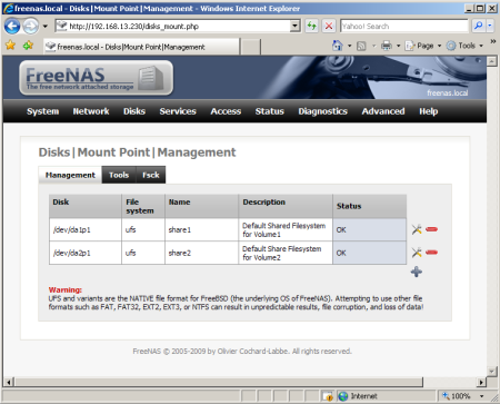 FreeNAS, Mount Points