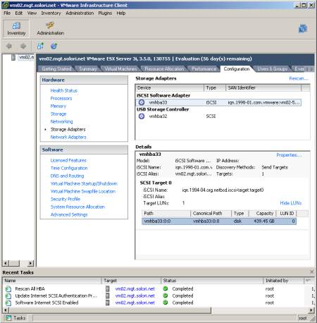 VMware ESX 3i Discovers FreeNAS Target with Ease
