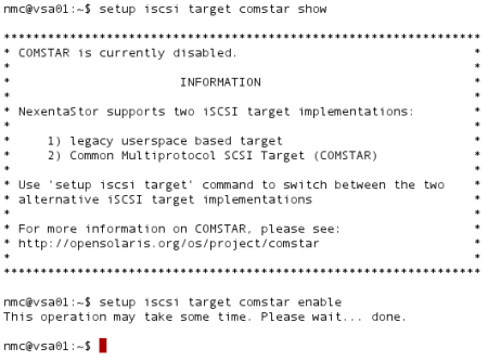 Enabling the COMSTAR target system in NexentaStor.