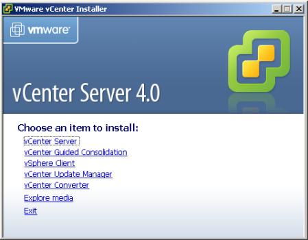 VMware vCenter Installation Menu