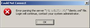 Error parsing the server...
