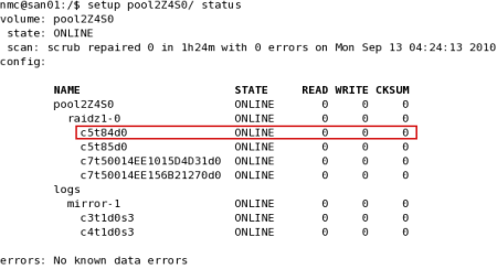 zpool status output for pool with undetected failing device