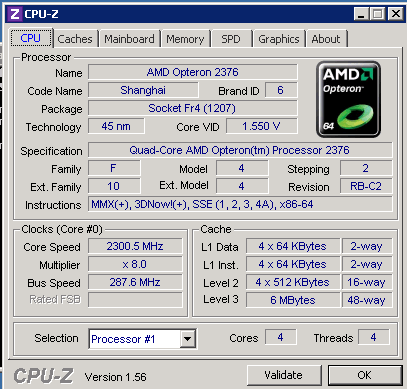 CPU-z output, 1 of 2
