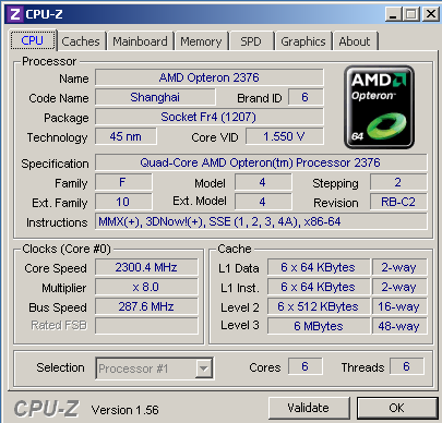Single 6-core (virtual) CPU