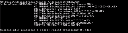 NETLOGON permissions as reported from icacls