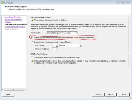 Disabling removable media during Update Manager driven remediation.